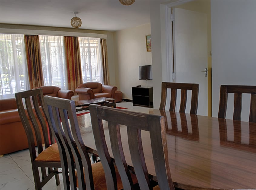 three bedroom apartment dining room